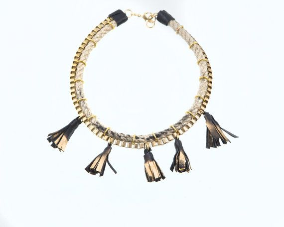 Statement Necklace  Tribal Jute Rope and Golden by EleannaKatsira, €69.00