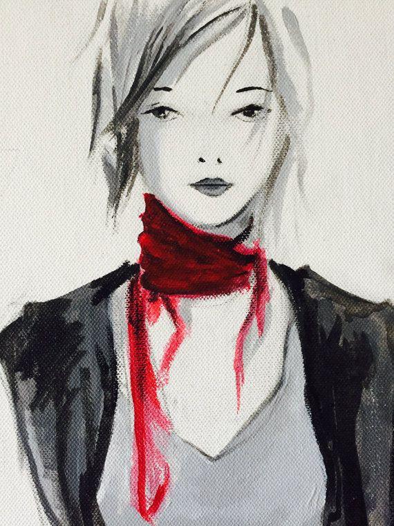 Toile pur e femme rouge et noir portrait peinture acrylique decorarion cadeau sophie for Peinture gris rouge