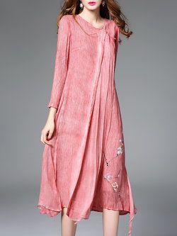 Long Sleeve Floral Silk Simple Midi Dress
