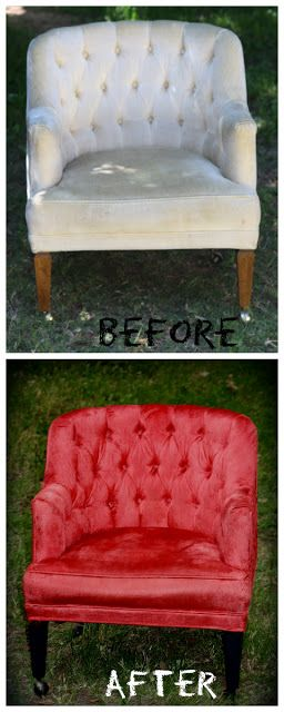 Vintage Chair made beautiful! How to Repaint a Chair/furniture with Rit dye! Great for photography prop!
