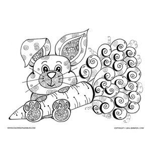 cute easter bunny coloring page with lots of fun areas to colorincluding flower filled ears and paws and a whimsical juicy carrot