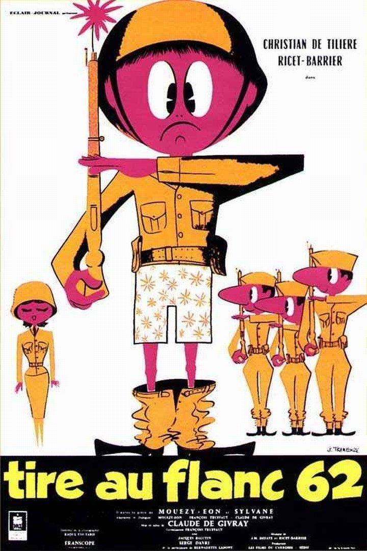 """""""Tire-au-flanc 62"""" (1960). Country: France. Director: Claude de Givray, François Truffaut. Cast: Christian de Tillière, Ricet Barrier, Jacques Balutin, Pierre Maguelon, Serge Korber, Pierre Fabre, Jean-Max Rivière"""