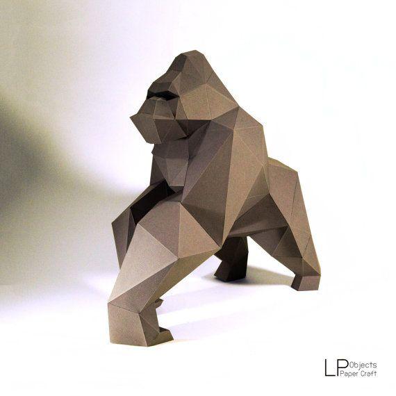 Modelo gorila, kingkong modelo kingkong papel, papel de gorila, poli baja gorila, papercraft, DIY, 3D, trofeo, papermodel, escultura