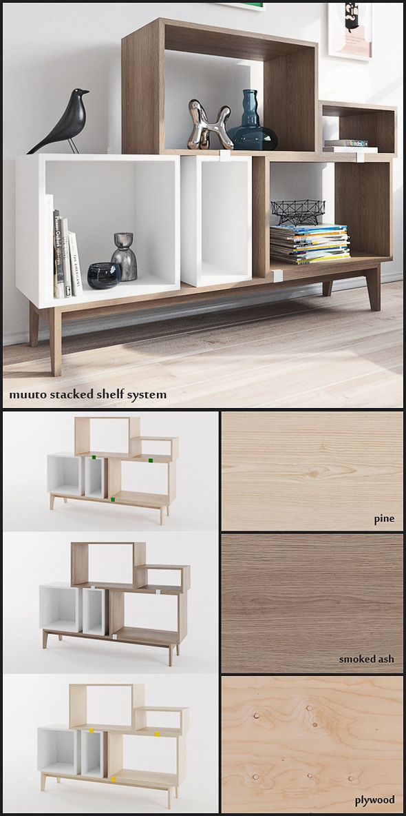 muuto stacked shelf system+ vray materials - 3DOcean Item for Sale