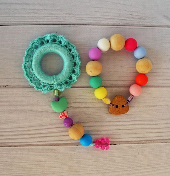 Crochet teething ring Organic wooden toy set Nursing bracelet Infant toy Natural baby bead Sensory necklace New baby birth gift New mom gift