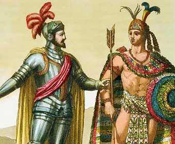 Moctezuma II y Hernán Cortés