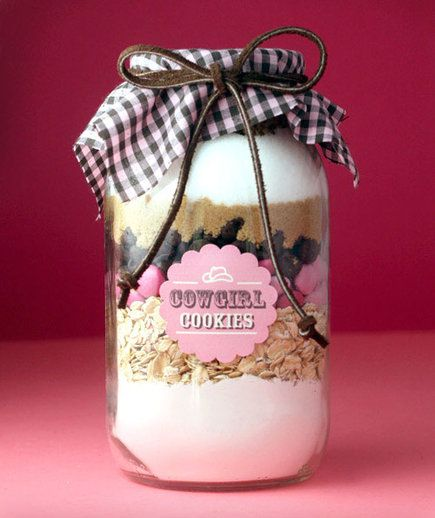 The addition of pink M&Ms and a brown suede bow gives traditional cowboy cookies a sweet upgrade. Each 1-quart jar yields about 28 cookies, which means if you're lucky, there might be an extra for you to eat. Add the nuts to the jar last in case they don't fit—you'll want to ensure all of the chocolate makes the cut.