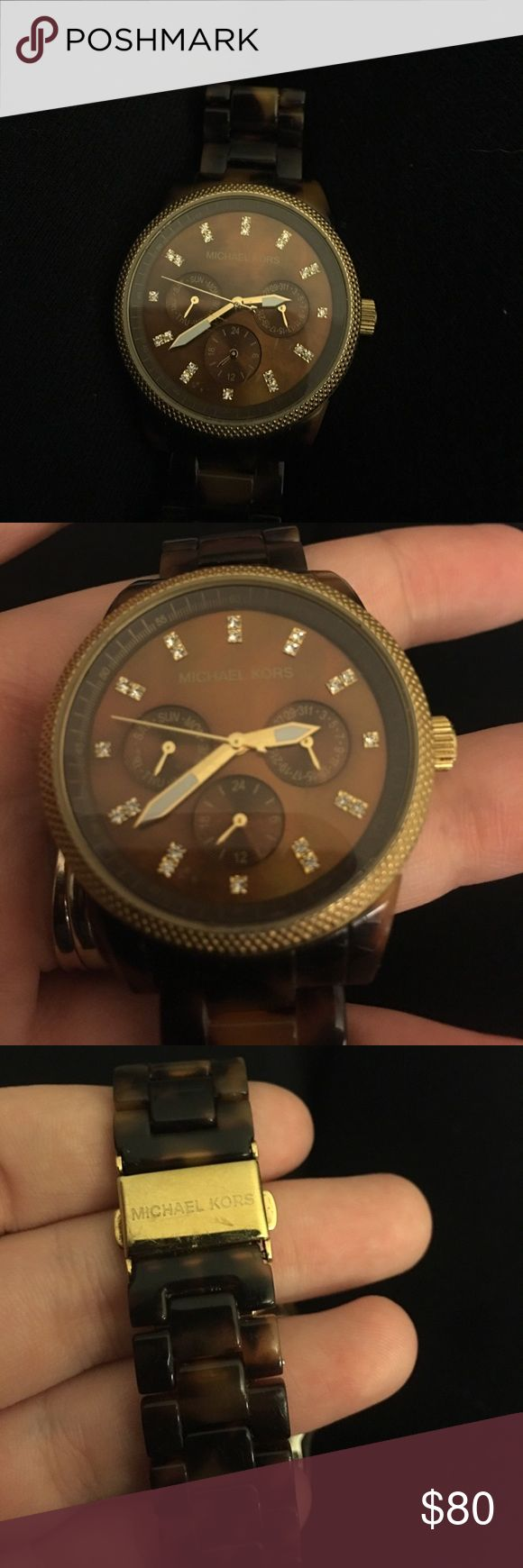 Michael Kors Tortoise Shell Watch 5038 Genuine Michael Kors Tortoise Shell and Gold watch. Needs a new battery. Does-not come with Links, Box or New battery. You can replace these at any Jewelry store. Michael Kors Accessories Watches