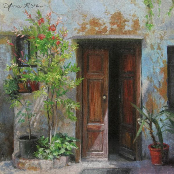 """""""An Open Door, Milan, Italy"""" - 8x8 - oil on linen panel - SOLD. Landscape painting by Anna Rose Bain."""