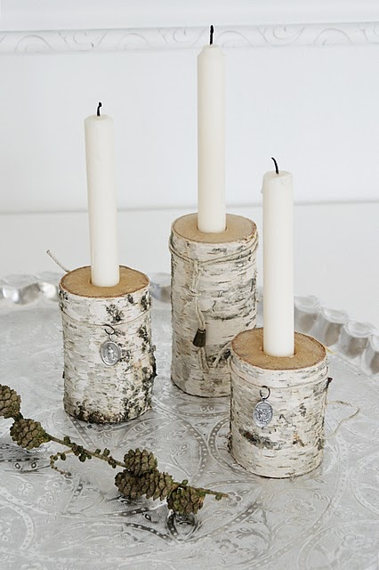 birch candle holders.