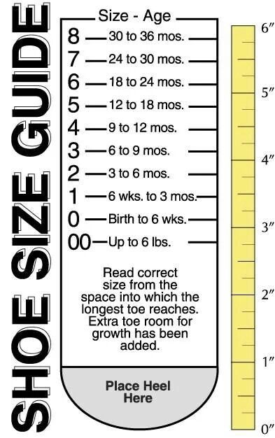 Baby Foot Size/Shoe Size Guide