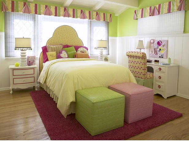The bright pinks, greens and yellows in this room allow a young teenage girl to express her style and enjoy her personal space.  While not pink entirely, the room's pink accents are a reminder of days past, while the citrus greens and yellows take the room to a new place, perfect for a growing girl.  Design by Lauren Jacobsen