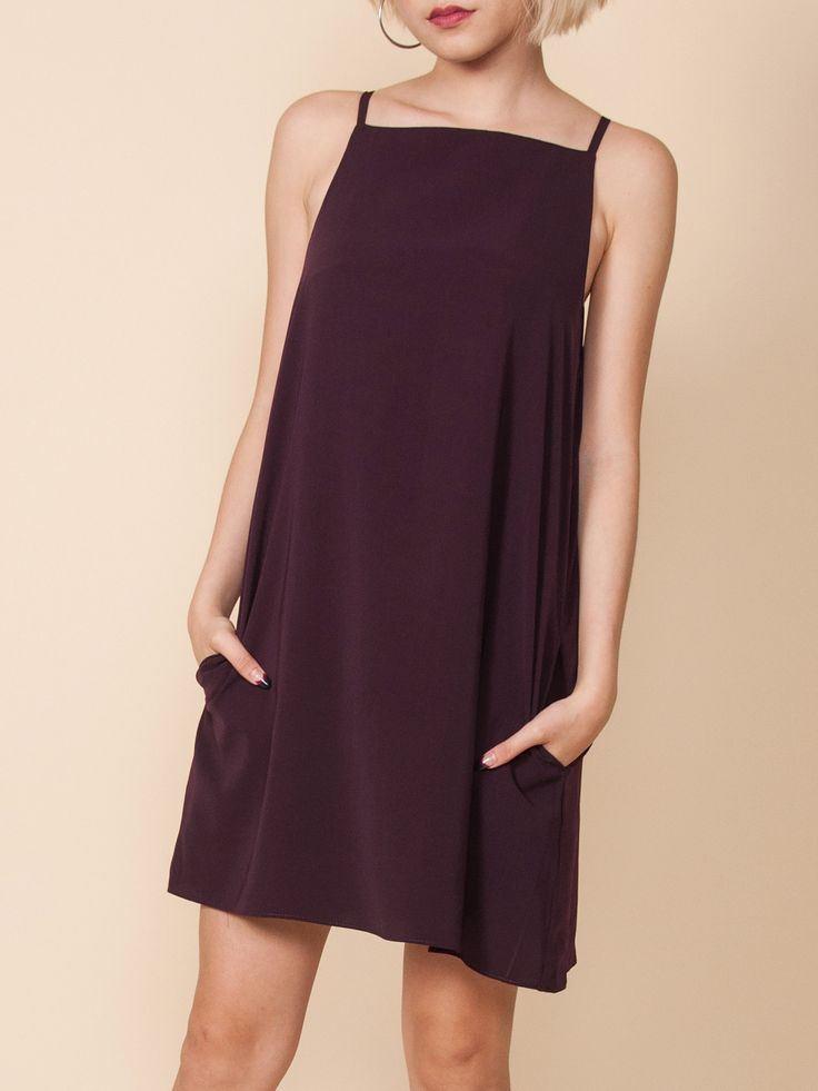 LIVVY Slip Dress with Pockets (Burgundy)