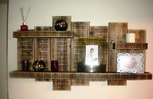 shelving for tall walls | Details about LARGE RECLAIMED RUSTIC FLOATING WALL SHELF SOLID WOOD ...