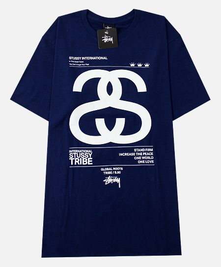 Stussy S/S Global T-Shirt in Indigo