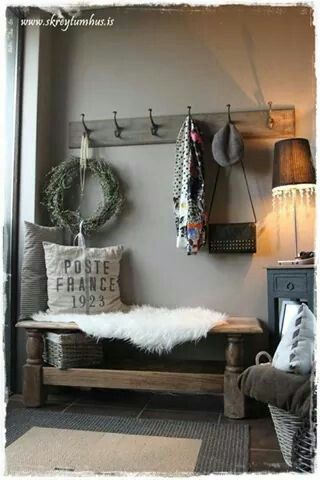 Would like set up similar to this for my entry: bench, hooks, small table with lamp. I just don't want it to look too much like a mud room.