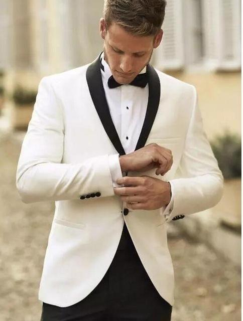 7b8993861cc 2019 White Tuxedo Jacket Black Lapel Slim Fit Men Suit Custom Made Wedding  Tuxedos Mens Prom Suits White Blazers men(Jacket+Pant