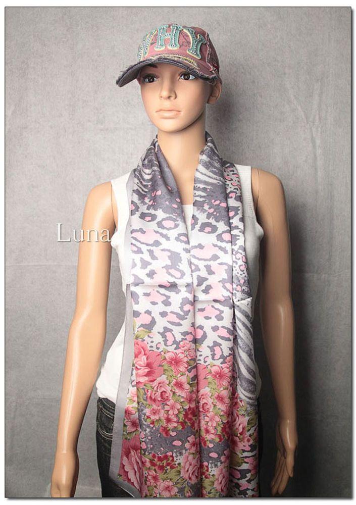 New LUNA 100% Oblong Silk Multi-Color Leopard And Flowers Scarf Size: 67*20inch #LUNA #Scarf