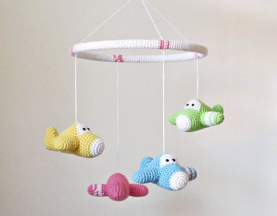 Crochet baby mobile airplanes organic cotton custom by ByMarika