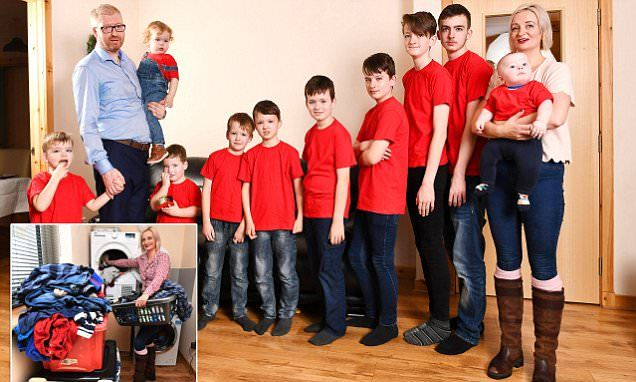 Mother who has TEN sons says she vacuums seven times a day