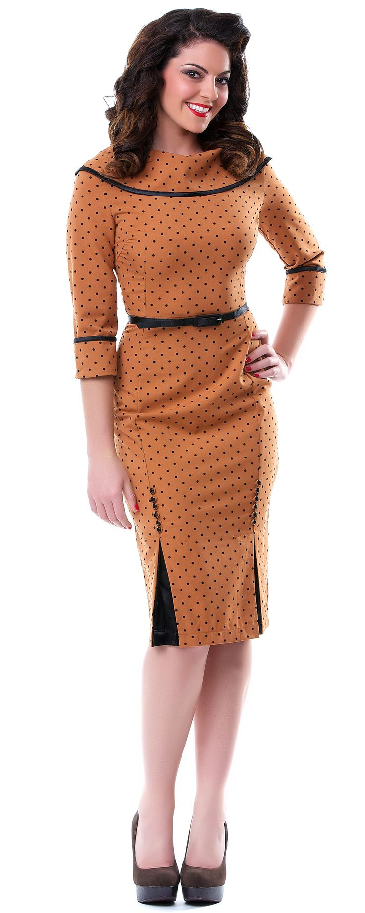 Ice Coffee Rust & Polka Dot Wiggle Dress - Unique Vintage - Pinup, Holiday & Prom Dresses.