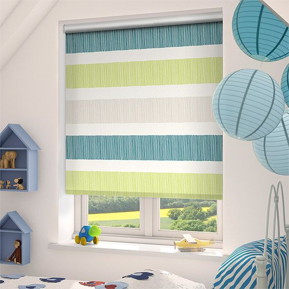 Choices Cardigan Stripe Sea Green Roller Blind from Blinds 2go