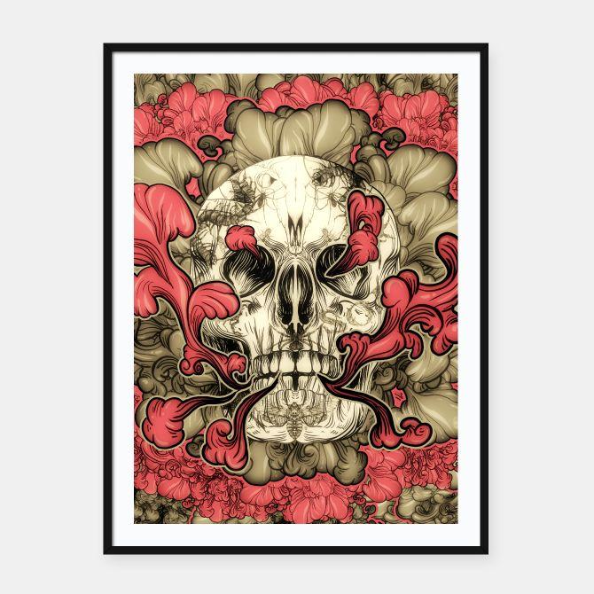 Tattooed Skull Framed poster, Live Heroes