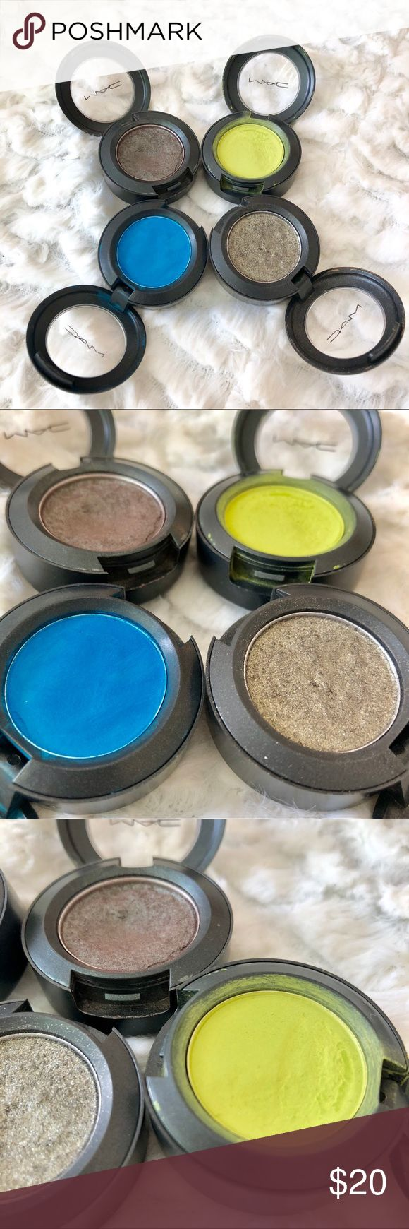 MAC Eyeshadow Lot of 4 MAC Eyeshadow• Electric Eel-Satin•Bitter-Velvet•Green Smoke-Lustre•Club-Satin• All eyeshadows are from my collection and have been used, please see all pictures. MAC Cosmetics Makeup Eyeshadow