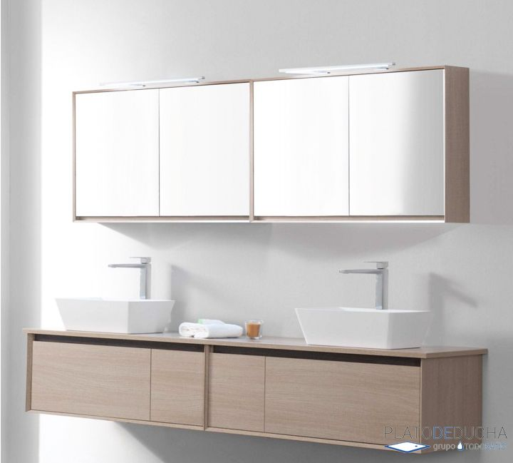Mueble de ba o luxor viii de 100 cm y con doble lavabo for Mueble bano minimalista