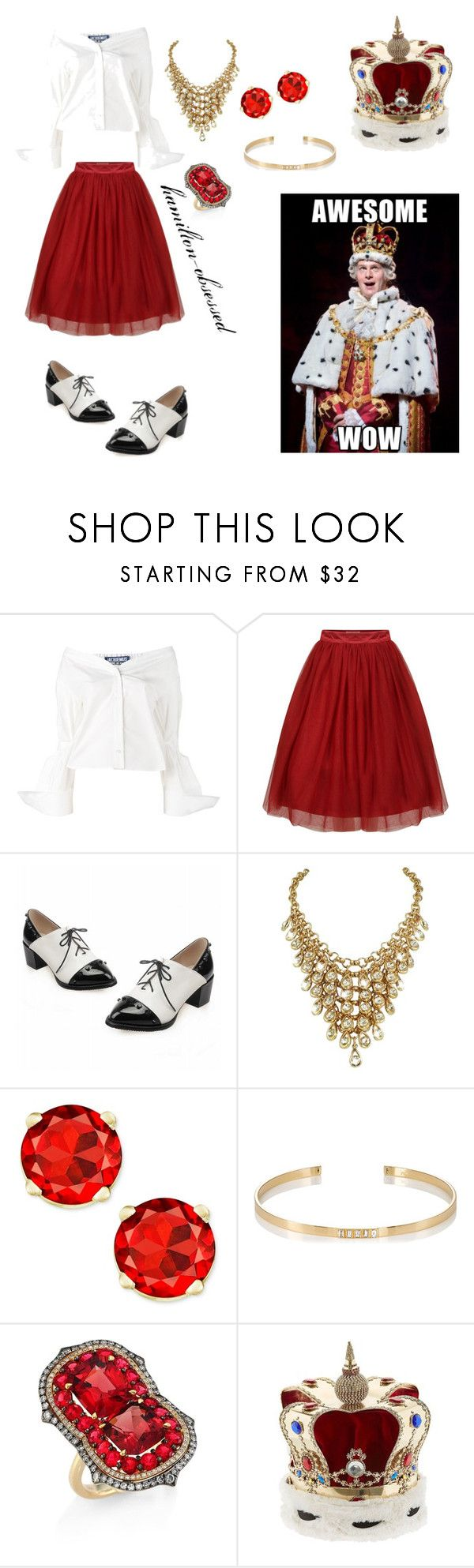 """King George(Hamilton)"" by hamilton-obsessed ❤ liked on Polyvore featuring Jacquemus, Ileana Makri, Ivy and Vittorio Ceccoli"
