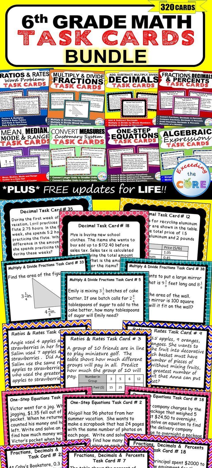 6th Grade Task Cards Bundlemon Core {320 Cards Skills Practice & Word  Problems }