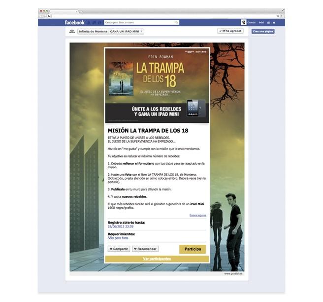 """Creatividad y diseño de la aplicación """"Misión La trampa de los 18"""" para la colección Infinita de Montena de Random House Mondadori."""