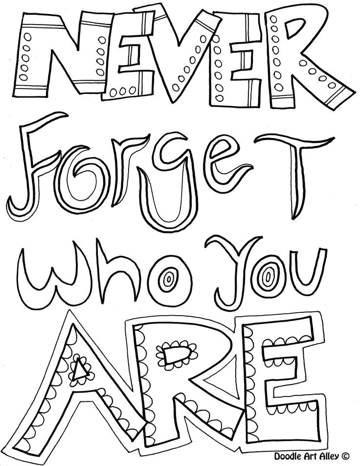 Doodle Coloring Page Never Forget Who You Are