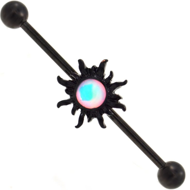 BodyDazz.com - Blazing Tribal Sun Blackline Industrial Bar 14G