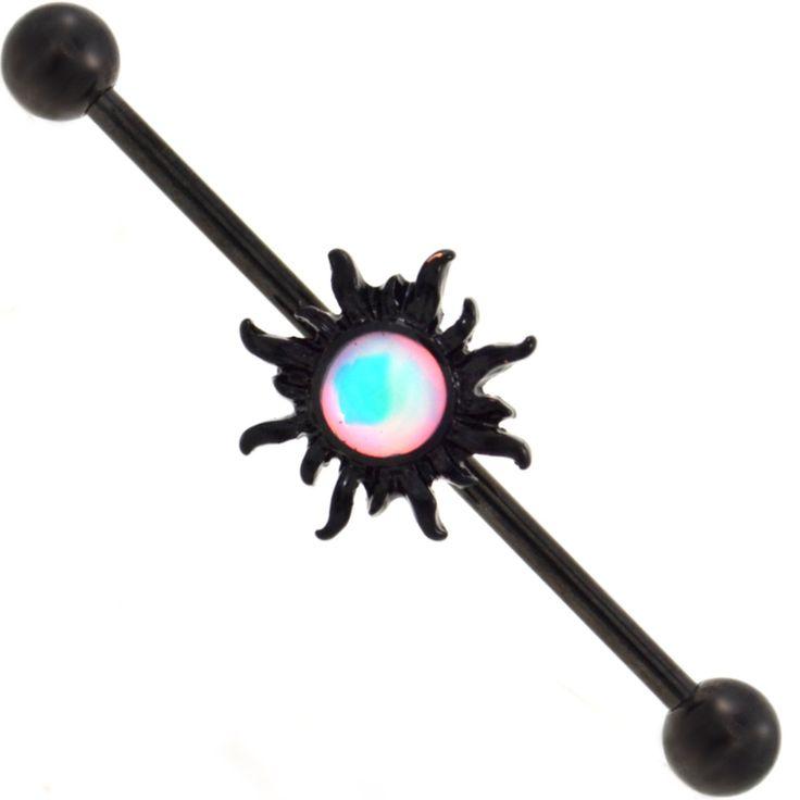 BodyDazz.com - Blazing Tribal Sun Blackline Industrial Bar 14G