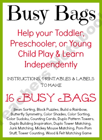 Busy Bag Bundle product from AllOurDays on TeachersNotebook.com