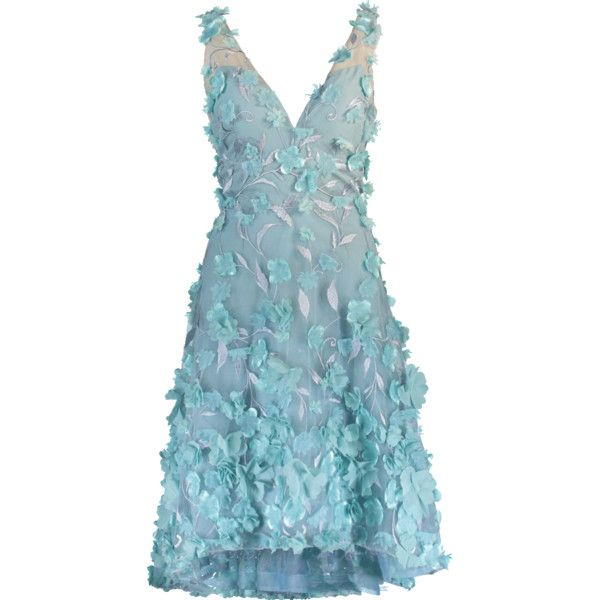 Marchesa Notte High Low 3d Petal Cocktail Dress (€715) ❤ liked on Polyvore featuring dresses, hi lo dresses, blue dress, midi cocktail dress, mid calf cocktail dresses and blue high low dress