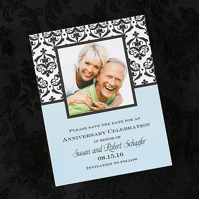 """""""The Anniversary Collectioion"""" Photo Anniversary Save the Date  This photo save the date card has your picture outlined in a black box with damask designs and the bottom is a light blue color with your wording printed on it.  """"4 1/4 x5 3/8"""""""
