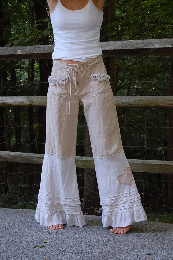 Linen Pants with Ruffle Cream Nautical Sailor by persnickedee, $42.00