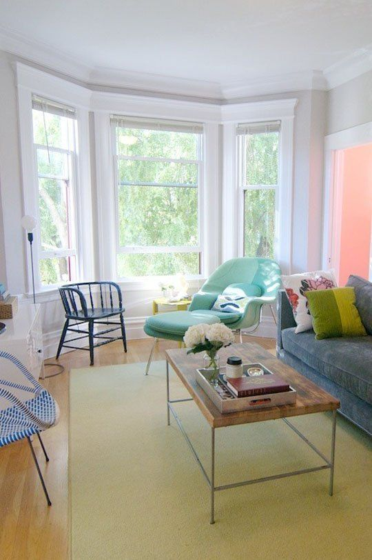 how could you not feel happy in this room - so much natural light, light colours and freedom
