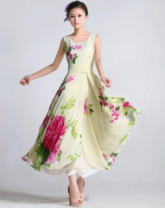 Spring Summer Chiffon Long Dress Lady Women Clothing by handok