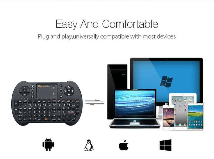 MantisTek®  MK1 2.4GHz Wireless Mini Keyboard with Touchpad Mouse Remote Control for Android Windows