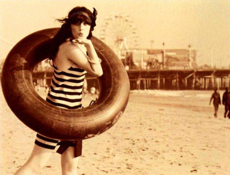 Zooey Deschanel in vintage inspired Jane Magazine Fashion Editorial on the beach