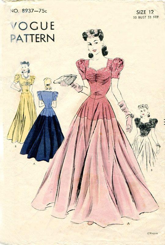 Vogue 8937 1940s Dress Pattern WWII Evening by FloradoraPresents