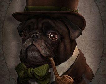 Sr. publico, Pug negro caballero victoriano Steampunk Top Hat pipa Original ilustración disfrazados retrato Poster Print - 4 tamaños disponibles