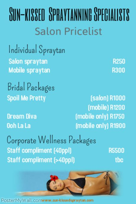 Umhlanga spraytan Salon Pricelist 2013