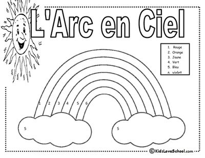 L Arc en Ciel Colour by Number in FRENCH from KidsLoveSchool! on TeachersNotebook.com -  (1 page)  - This is a basic colour by number of a rainbow in FRENCH!  Appropriate for grades 1-2 French Immersion or grade 4 FSL Core French.