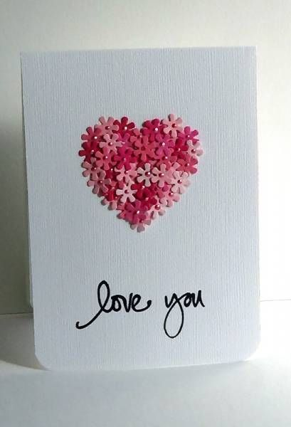 """Love you"" -Lisa used a die cut heart and adhered flowers around the outside first & then filled in the rest."