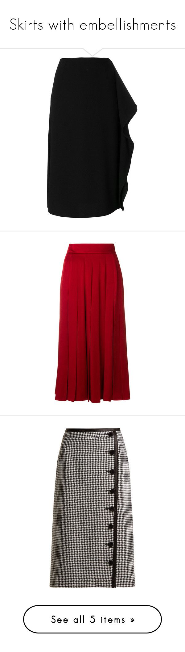 """Skirts with embellishments"" by shamrockclover ❤ liked on Polyvore featuring skirts, black, pencil skirts, zip back pencil skirt, high waisted skirt, mid calf length skirts, mid length skirts, red, pleated skirts and midi skirt"