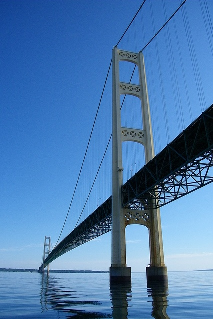 The Mackinac Bridge connects the Upper Peninsula of Michigan with the lower part of the state.